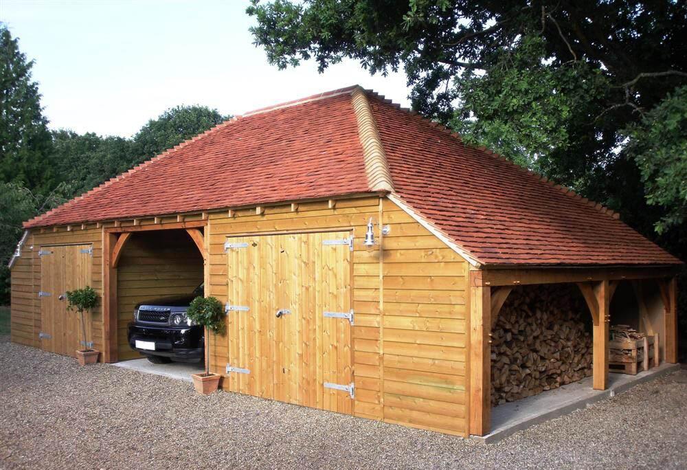 3-bay Timber Garage with log storage