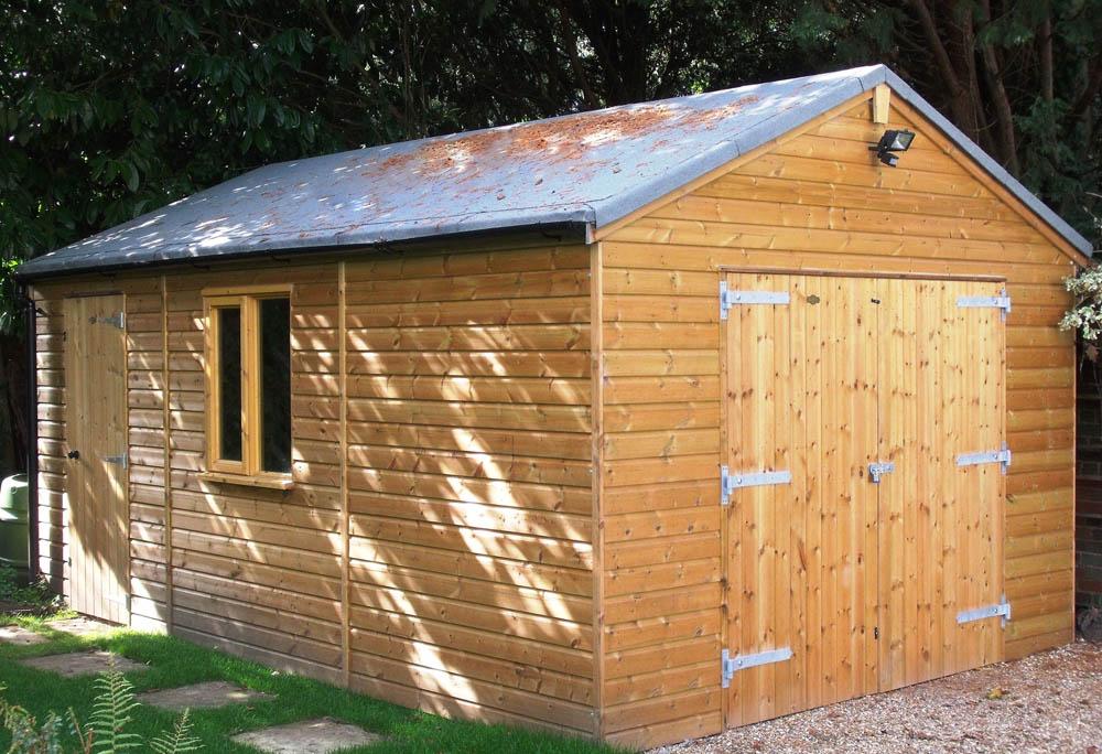 Single Timber Garage at at the Passmores showroom